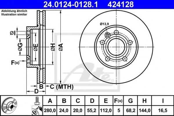 ΔΙΣΚΟΙ ΦΡΕΝΩΝ ΑΤΕ 424128 TRANSPORTER T4 Φ280